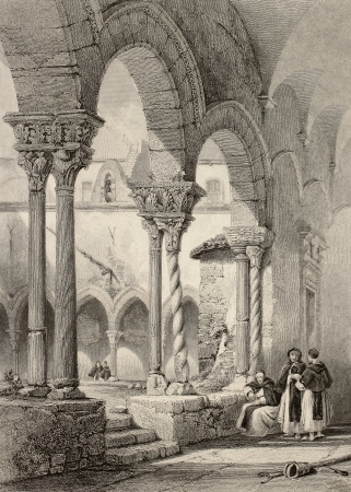 Old engraving shows cloister of san Domenico church in Palermo, Italy. Original drawn by W. L. Leitch, engraved by J. H. La Reux. Published in �The Shores and Islands of Mediterranean�, by Fisher, Sons & Co. of London and Paris, c. 1840