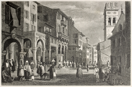 reale: Old view of Strada Reale in Corfu, Greek island. Created by Prout and Finden, published on Il Mediterraneo Illustrato, Spirito Battelli ed., Florence, Italy, 1841