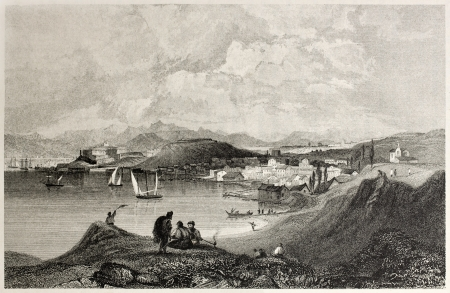 mediterraneo: Old view of Corfu and Manduchio from the Mount Olivet. Created by Bentley and Sands, published on Il Mediterraneo Illustrato, Spirito Battelli ed., Florence, Italy, 1841  Editorial