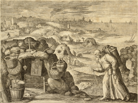 17th: Hermit old illustration from engraving. May be dated between the end of the 16th c. and the beginning of 17th c.