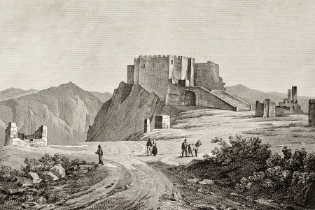 erice: An old engraving of Erice mount and castle, near Trapani, Sicily, Italy.