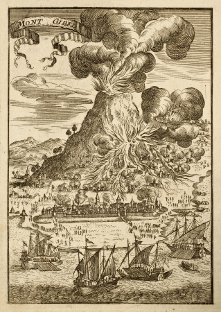 Mount Etna, Sicily, the highest European active volcano, in a illustration datable to first half of 17th c.