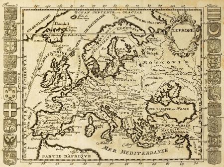 deutschland karte: Karte von Europa durch nationale Wappen umrahmt. Kann an den Anfang des XVIII sec datet werden.