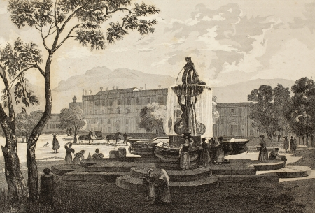 19th: An old print shows a fountain in the square in front of Palazzo dOrleans, Palermo, Italy. The original engraving was created by Audot, Bouchet and Aubert in the first half of 19th c.
