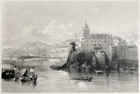 mediterraneo: Old view of Genoa, Italy. Created by Leitch and Readway, published on Il Mediterraneo Illustrato, Spirito Battelli ed., Florence, Italy, 1841 Editorial