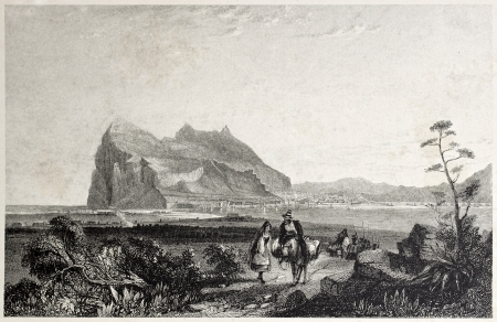 africa antique: Old view of Gibraltar. Created by Bentley and Fiuden, published on Il Mediterraneo Illustrato, Spirito Battelli ed., Florence, Italy, 1841
