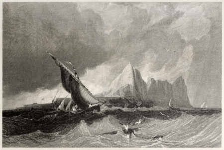 mediterraneo: Old view of Gibraltar from the sea. Created by Bentley and Armytage, published on Il Mediterraneo Illustrato, Spirito Battelli ed., Florence, Italy, 1841 Editorial