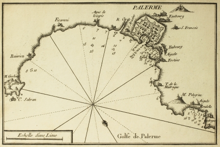 Old map of Gulf of Palermo. Printed in 1764.