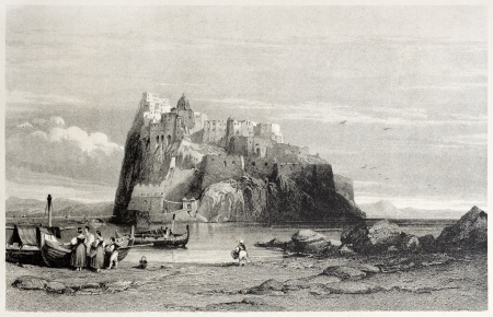 Old illustration of Aragonese castle in Ischia island, Tyrrhenian sea, near Naples, Italy. By Leitch and Sands, published on Il Mediterraneo Illustrato, Spirito Battelli ed., Florence, Italy, 1841