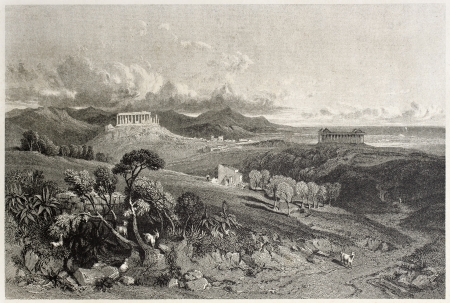 lacey: Old view of Juno and Concordia temples, Valle dei Templi, Agrigento, Sicily, Italy. Created by Leitch and Lacey, published on Il Mediterraneo Illustrato, Spirito Battelli ed., Florence, Italy, 1841