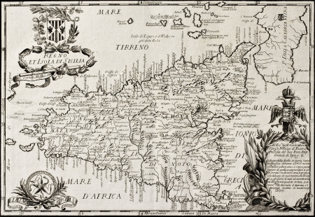 alicudi: Old map of Sicily and little islands around it. The original map is datable approximately between the and of 17th c. and the beginning of 18th c.. The map was created by Franciscus Cassianus Da Sliva and bears a dedication from the bookseller Antonio Buli