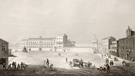 Antique illustration of the area in front of Royal Palace, in Palermo, Italy. The original engraving was created by Angelini and Romargue and is datable to the first half of 19th c.