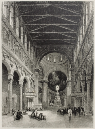 mediterraneo: Old illustration of Messina cathedral interior, Italy. Created by Leitch and Floyd, published on Il Mediterraneo Illustrato, Spirito Battelli ed., Florence, Italy, 1841 Editorial