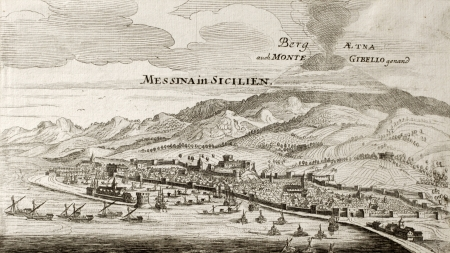Old map of Messina with Etna volcano in background. The original engraving was created by Gabriel Bodenehr, a german map maker who was born in 1673 and died in 1765 Stock Photo - 14986605