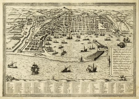 Antique map of Messina the town of Sicily separated from Italy by the strait of the same name. The map can be approximately dated to the 17th c. and bears 167 numbered marks for places description Stock Photo - 14986461