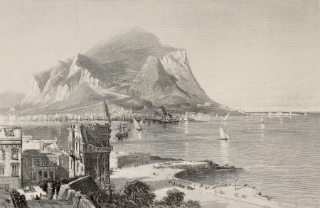 felice: Antique illustration of Porta Felice and Palermo bay with Mount Pellegrino in background, Italy. Engraved by S. Bradshaw on a picture of H. Fenn. Published in Pictoresque Europe, ca. 1875