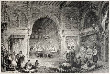 Old illustration of a Moorish palace interior, Algiers. Created by Allon and Challis, published on Il Mediterraneo Illustrato, Spirito Battelli ed., Florence, Italy, 1841