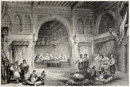 mediterraneo: Old illustration of a Moorish palace interior, Algiers. Created by Allon and Challis, published on Il Mediterraneo Illustrato, Spirito Battelli ed., Florence, Italy, 1841 Editorial