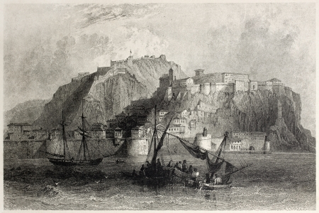 mediterraneo: Old view of Nafplio, Peloponnese, Greece. Created by Bartlett and Floyd, published on Il Mediterraneo Illustrato, Spirito Battelli ed., Florence, Italy, 1841