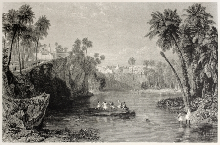 Old view of Nafta oasis, Tunisia. Created by Allen and Higham, published on Il Mediterraneo Illustrato, Spirito Battelli ed., Florence, Italy, 1841