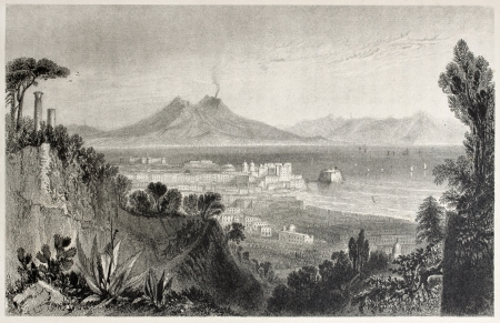 lacey: Old view of Naples with Vesuvius volcano in background, Italy, Created by Bartlett and Lacey, published on Il Mediterraneo Illustrato, Spirito Battelli ed., Florence, Italy, 1841