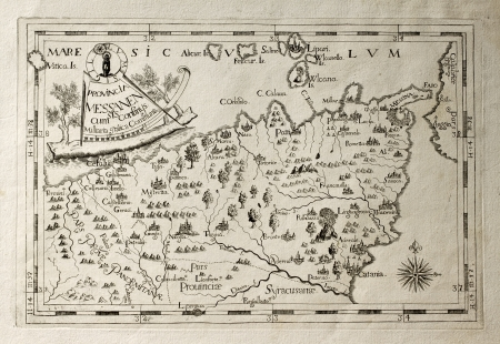 Old map of Capuchins province of Messina, Sicily. The map may be dated to the 17th c.  Stock Photo - 14986532