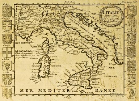 sardaigne: Carte de l'Italie encadr�e par des cr�tes territoriales. Peut �tre dat�e du d�but du XVIII s. Editeur