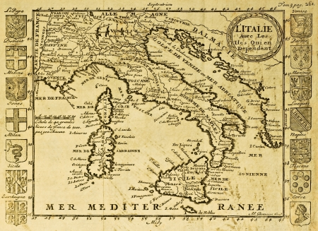 italy map: Map of Italy framed by territorial crests. May be dated to the beginning of XVIII sec.