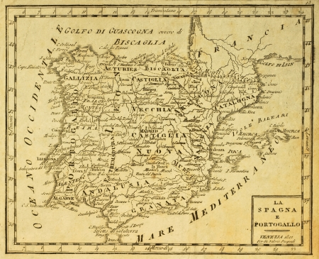 Spain and Portugal old map, published in Venezia, Italy, 1810 Editorial