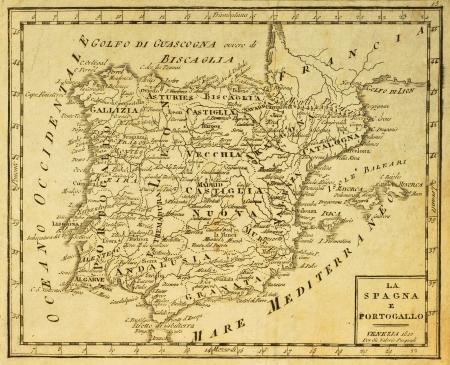 iberian: Spagna e Portogallo vecchia mappa, pubblicata a Venezia, Italia, 1810 Editoriali