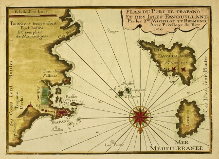 Sicily west end and aegadian islands in a French old map of 1730