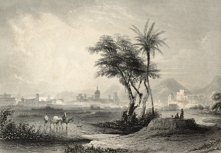 palermo italy: Antique illustrations of Palermo surroundings, Italy. Original engraving created by J. Muller and A. H. Payne inn 1840 ca Editorial