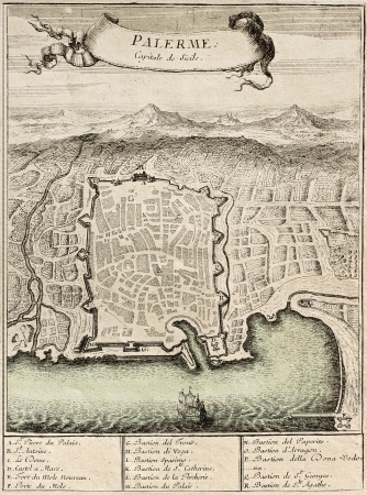 Old franch engraved illustration showing Palermo, capital of Sicily, with 17 marks for places description. The original illustration was published on 'Atlas Cureiux' in 1705