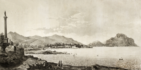 An antique engraving of Palermo bay view form Bagheria, Italy. The original illustration was created by Morselli and Rosaspina and was published in 1845