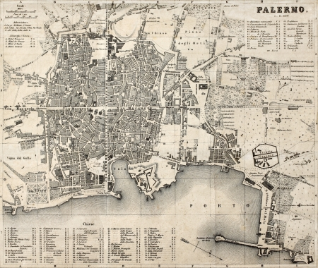 Antique map of Palermo, Italy, bearing 76 numbered marks for places description. Was created by Wagner and Debes, in Leipzig, and may be dated between the end of 19th century and the beginning of 20th