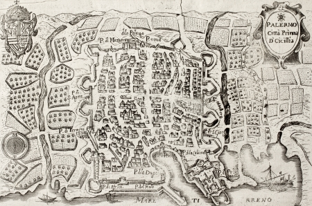 dated: An old map of Palermo, the main town in Sicily. May be dated to the 18th c.