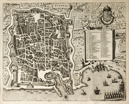 palermo: Antique map of Palermo, the main town in Sicily. The map can be dated to the 17th century and bears 66 numbered marks for places description