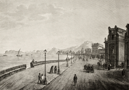Antique illustration of Palermo promenade, Sicily, The original engraving, created by B. Rosaspina, may be dated to the first half of 19th c.