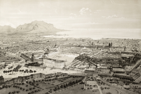 dated: Old illustration of a perspective view of Palermo, Italy.  The original engraving, by Guesdon and Springer, may be dated to the half of 19th c. Editorial