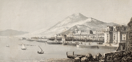 19th: Antique illustration showing marine landscape of Palermo, Italy. Original engraving created by Lenormand and Rouargue and is datable to the half of 19th c. Editorial