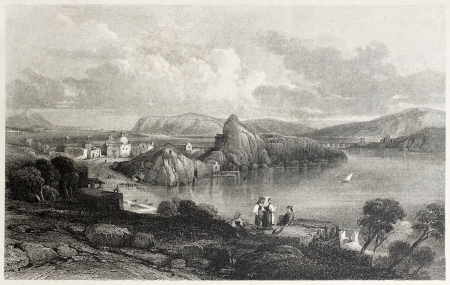 mediterraneo: Old view of Phlegraean Fields from Capo Miseno, near Naples, Italy. Created by Leitch and Starling, published on Il Mediterraneo Illustrato, Spirito Battelli ed., Florence, Italy, 1841 Editorial