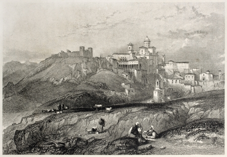 mediterraneo: Old view of Piazza Armerina, Sicily, Italy. Created by Leitch and Allen, published on Il Mediterraneo Illustrato, Spirito Battelli ed., Florence, Italy, 1841  Editorial