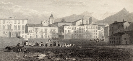 palermo italy: Antique illutration of Piazza Marina, Palermo, Italy. Original engraving was created by Dewint and J. Byrne and was published in London in 1823