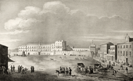 dura: Old illustration of Royal Palace Place, in Palermo, Italy. The original engraving, created by Dura, Fregola, Cuciniello and Bianchi, may be dated to the first half of 19th c.