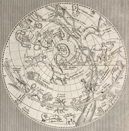 Antique illustration of  Celestial Planisphere (northen emisphere) with constellations. Original engraving, Taillart sculp., is datable to the half of 19th c.