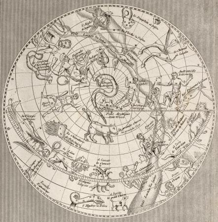 planisphere: Illustrazione antica di planisfero celeste (emisfero settentrionale) con costellazioni. Incisione originale, Taillart scultura., � databile alla met� del 19 � sec.