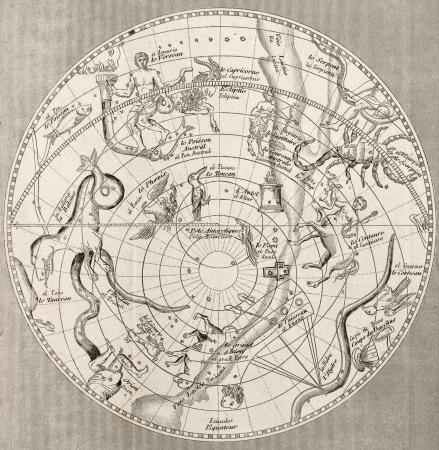 constelaciones: Ilustraci�n antigua de Planisferio Celeste (sur Emisphere) con constelaciones. Original grabado, escultura Taillart., Es datable a la mitad de c 19.