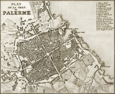 An old map of Palermo, the main town in Sicily. The map may approximately dated to the first half of 19th c. and bears 17 marks for places description