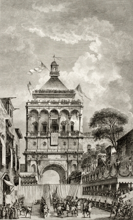 dated: Antique illustration of Porta Nuova, in Palermo, Sicily, The original engraving, created by Desprez and Berthault, may be dated to the end of 18th c. Editorial