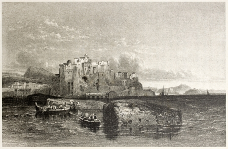 mediterraneo: Old view of Pouzzoles, near Naples, Italy. Created by Leitch and Thompson, published on Il Mediterraneo Illustrato, Spirito Battelli ed., Florence, Italy, 1841 Editorial